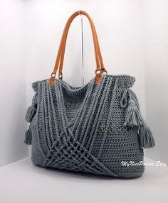 Crochet cinza boho bolsa com franjas, decoração de tecidos e alças de couro genuíno, cliente, saco de praia, moda primavera verão 2014 bolsa