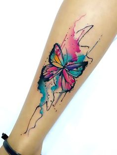 An explosion of colors give this tattoo movement and life. Very feminine, sophisticated, blue, pink and yellow butterfly represents love, freedom and life.