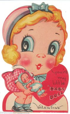 You're my little Baby Doll - Vintage Valentine * 1500 free paper dolls at Arielle Gabriel's The International Paper Doll Society and The China Adventures of Arielle Gabriel for Chinese and Japanese paper dolls free *