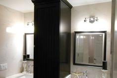 Inspiring Black And White Modern Bathroom Of Los Alamitos With Double Vanity Areas For Couple Divided With Black Divider