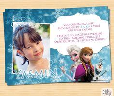 convites de aniversário da Frozen com espaço para foto
