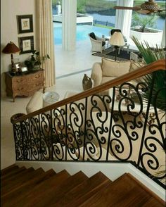 iron stair rail with C scrolls Wooden Staircase Railing, Wrought Iron Banister, Iron Staircase, Iron Stair Railing, Banisters, Railings, Railing Design, Staircase Design, Iron Balcony