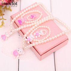 Kids Baby Girl's Imitation Pearls Beaded Animal Designed Rabbit Bear Necklace Bracelet Rings Jewelry Set Children Party Gift #Affiliate