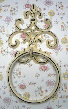 Fleur de lis Cast Iron Off White Cream FDL Wall Small Hand Towel Ring French Bathroom Kitchen Decor Paris Shabby Chic Cottage Distressed by TamarasTreasureTrove on Etsy