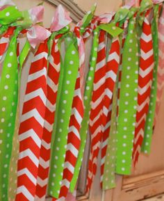Whimsical Christmas Holiday Garland Banner  Red and by prettimini, $25.00