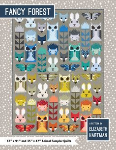 Fancy Forest quilt pattern with your favorite pieced animal blocks by Elizabeth Hartman. Fat quarter friendly pattern includes instructions for large and small quilts. Quilting Projects, Quilting Designs, Sewing Projects, Quilt Design, Quilt Baby, Elizabeth Hartman Quilts, Patchwork Quilt, Quilt Modernen, Fancy