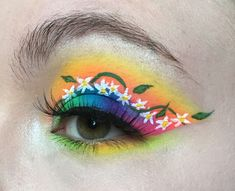 Flower Makeup, Neon Flowers, Makeup Art, Makeup Looks, Eyes, Spring, Pop Art Makeup, Make Up Styles, Cat Eyes