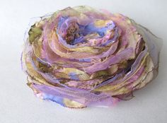 Lavender Singed Flower Pin by FiberLingo on Etsy, $15.00