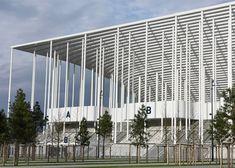 Herzog & de Meuron's Bordeaux Stadium framed by columns