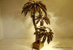 Palm Tree Patio Floor Lamps | Very Large Maison Jansen Brass Palm Tree Floor Lamp, France image 10
