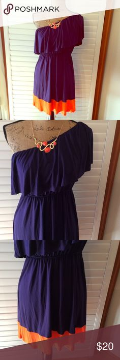 """Boutique Dress Boutique dress. Size large. One shoulder Dress. Purple and orange. Viscose and spandex blend. Length is 36"""". Waist is 32"""" and has elastic waist with plenty of stretch. Dresses Midi"""