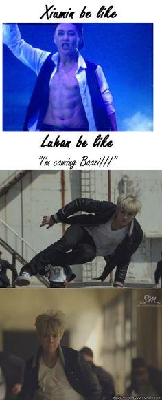 Lu Han better run as fast as he can before the fangirls get to Xiumin!  Haha o∩_∩o