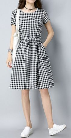 Women loose fit plus over size pocket dress checkered tunic fashion casual chic .- Women loose fit plus over size pocket dress checkered tunic fashion casual chic … Women loose fit plus over size pocket dress checkered tunic fashion casual chic - Womens Fashion Casual Summer, Casual Summer Dresses, Summer Dresses For Women, Trendy Dresses, Nice Dresses, Short Dresses, Dress Summer, Dress Casual, Trendy Fashion