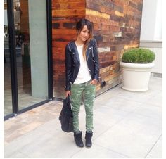 Sincerely Jules using camo pants with black leather jacket. Perfect as always!