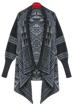 Black Long Sleeve Geometric Print Cardigan Sweater