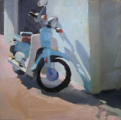 Blue Scooter by Kaethe Bealer Small Paintings, Paintings I Love, Landscape Paintings, Watercolor Paintings, Acrylic Paintings, Landscapes, Colorful Artwork, Car Painting, City Art