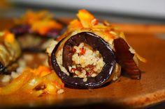 Cannellonis d'Aubergines à la Semoule, Fruits Secs & Herbes Fraîches