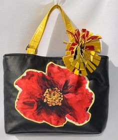 Black Vegan Leather With Retro Red Flowers Monogram Applique