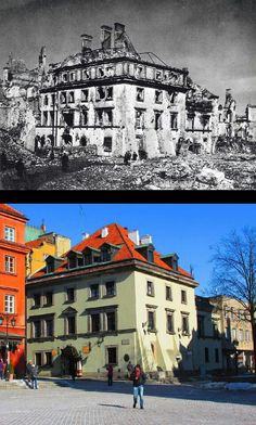 1945 and the same building restored today Poland Ww2, Warsaw Poland, Historical Monuments, Historical Photos, Poland History, German Architecture, Visit Poland, World War Two, Tourism