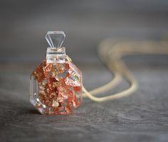 Resin Pendant Perfume Bottle Gold Flakes Necklace