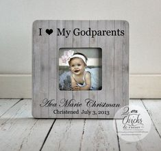 Godparent Gift, Personalized Christening Picture Frame, Godparent Picture Frame, Christening Gift Idea, I Love My Godparents