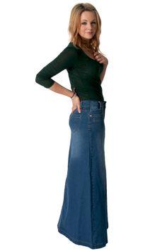 long dark wash denim skirt from Denim Skirts Online - UKsizes 8 ...