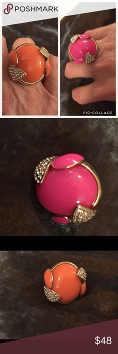 """Duo of 2 Spring Rings Size 6/7 Size 6/7 Set of 2 Spring Fashion Rings- Large cantaloupe and bright pink stones set on gold tone and crystal base. These rings are NOT those junkie rings people sell!! These are refined, 1 1/4"""" Long, 1"""" Wide and weighty!!! Unknown Jewelry Rings"""