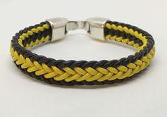 Hufflepuff leather kumihimo flat braid bracelet.