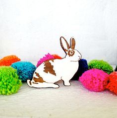 Hand Painted Bunny Rabbit Brooch - Laser Cut - White Bunny. via Etsy.