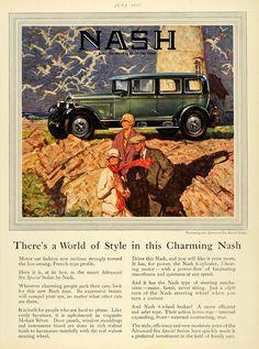 1927 Ad Nash Automobile Motor Car Sedan Mohair Velvet Lighthouse Seagull HB3