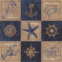 Mixed Media - Nautical Burlap by Debbie DeWitt