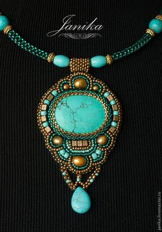 Luxor - bead embroidered pendant with turquoise cabochon, by Janika on livemaster. Seed Bead Jewelry, Bead Jewellery, Jewelry Art, Beaded Jewelry, Jewelery, Jewelry Design, Beaded Brooch, Beaded Earrings, Beaded Bracelets