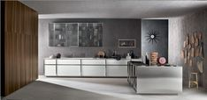 on the right wall, great deco idea.  Linear kitchen by Rossana Rb