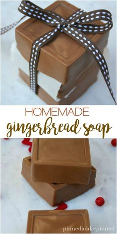 Homemade Gingerbread Soap is easy to make, relatively inexpensive, and makes a fabulous homemade gift perfect for the holidays. Handmade Soap Recipes, Handmade Soaps, Diy Soaps, Soap Melt And Pour, Christmas Soap, Christmas Goodies, Homemade Scrub, Soap Making Supplies, Goat Milk Soap