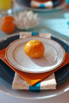orange place settings