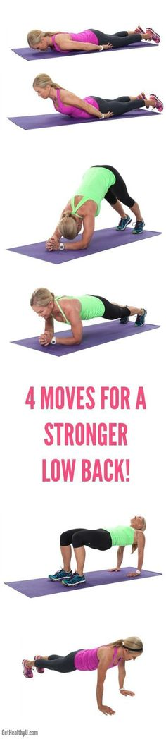 4 Moves For A Stronger Low Back - Get Healthy U Strengthening the muscles around your spinal column and in your core is a surefire way to keep your back healthy and strong. Here are four moves that will help keep your strong and standing tall! Fitness Tips, Fitness Motivation, Health Fitness, Fitness Plan, Low Back Exercises, Back Strengthening Exercises, Scoliosis Exercises, Glute Exercises, Yoga Pilates
