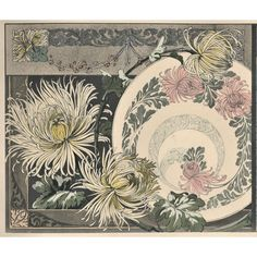 Horizontal Matted Art Nouveau Botanical Chromolithograph Design-Chrysanthemums