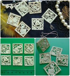 Amazing delicate polymer clay filigree pieces that look like carved ivory.