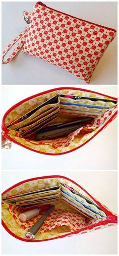 Easy beginner wristlet bag sewing pattern and video.