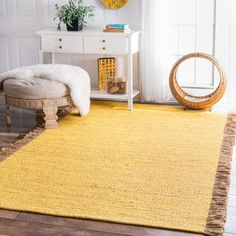 Shop for nuLOOM Handmade Flatweave Solid Tassle Yellow Rug (7'6 x 9'6) and more for everyday discount prices at Overstock.com - Your Online Home Decor Store!