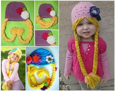 Rapunzel Crochet Hat. I don't know if this could be cuter! There are also knit beard hats and cabbage patch hair hats!