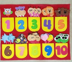 Idéia de decoração da sala de aula. Números.