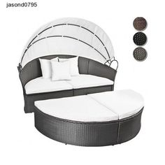 Black Patio Garden Set Sun Bathe Circular Bed Rattan Lounger Cushions Canopy Set