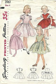 1950s Simplicity 3961 Vintage Sewing Pattern by midvalecottage