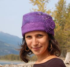Purple Nuno Felted Hat - merino wool with habotai silk - silk rose brooch by Elisa Shine