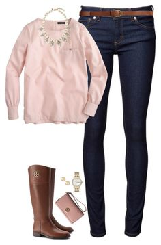 """Pale pink & pearls"" by steffiestaffie ❤ liked on Polyvore featuring Naked & Famous, J.Crew, Banana Republic, Tory Burch, Marc by Marc Jacobs, Tiffany & Co. and H&M"