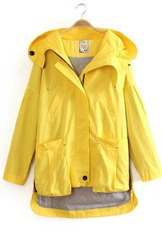 This sunny yellow jacket would turn your :-( upside down :-) on a rainy day - reminds me of Paddington Bear's rain jacket - makes me want to splash in puddles :-)