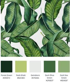 Green Color Schemes, Green Colour Palette, Green Colors, Paint Colors For Home, House Colors, Paint Color Palettes, Tropical Wallpaper, Tropical Colors, Exterior Paint