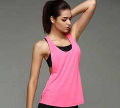 8 Colors Summer Sexy Women\'s Tank Tops Quick Drying Loose Brethable Fitness Sleeveless Vest Workout Top Exercise T-shirt 1033