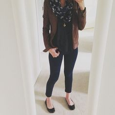 navy jegging, tee, and scarf, with brown leather jacket